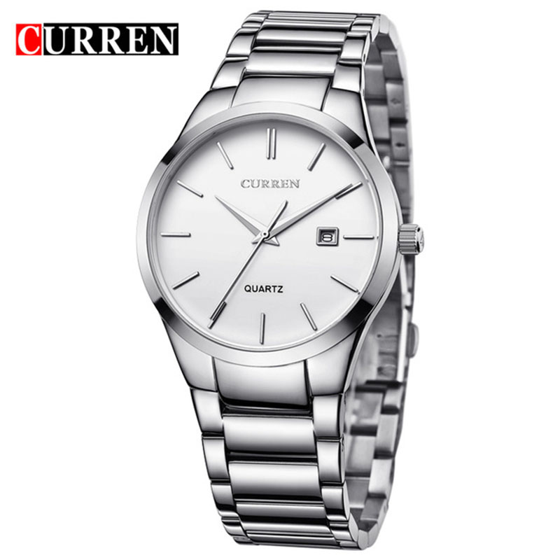 relogio masculino CURREN Luxury Brand Full Stainless Steel Analog Display Date Men's Quartz Watch Business Watch Men Watch 8106 yazole luxury brand full stainless steel analog display date men s quartz watch business watch men watch relogio masculino