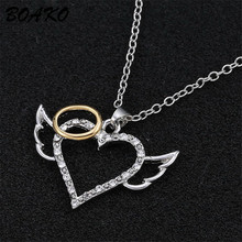 цена на White Crystal Heart Necklace Love Angel Wings Necklace Women Gift Shiny Cubic Zirconia Pendant Necklace Girls Party Jewelry