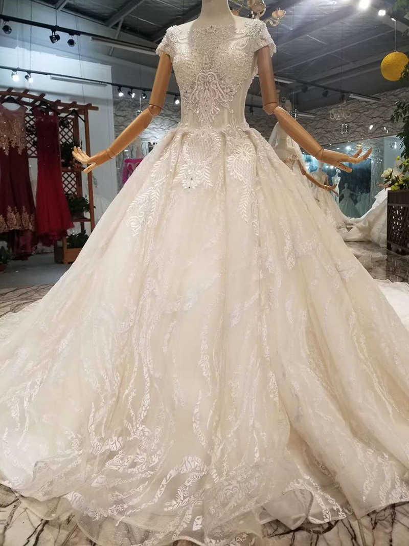 LSS082 2018 fasion vestidos o-neck mangas curtas tulle keyhole voltar vestido de baile vestido de casamento personalizado vestido de noiva livre shiping