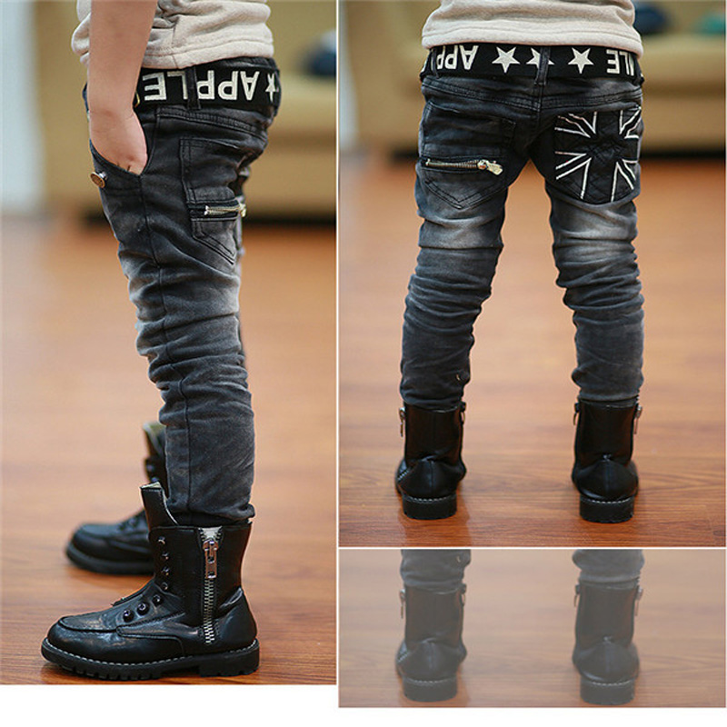 11-Years-Old Jeans Pants Boys Kids Children Teenager for Scratch Elastic Warm