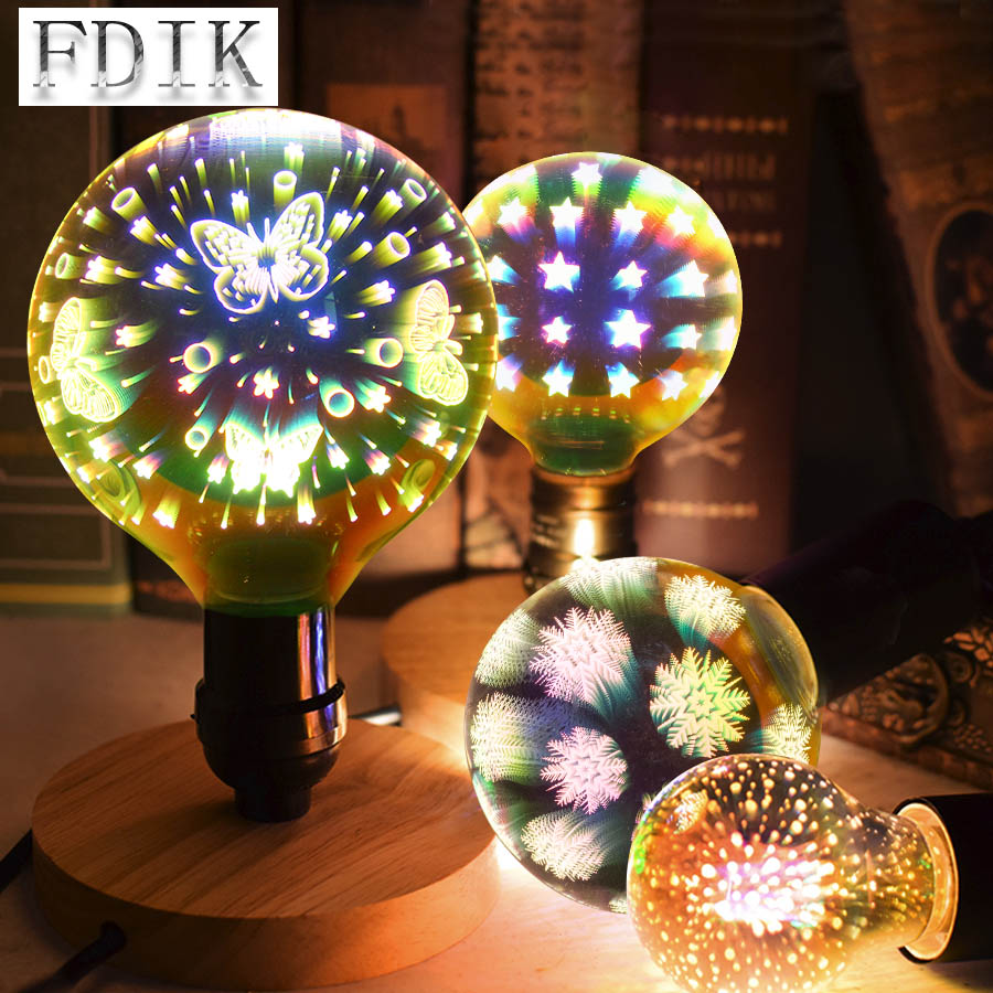 Creative 3D LED Bulb A60 G95 G125 Firework Butterfly Starry sky Snowflake Dazzle Color Edison bulbs E27 4W Xmas Decoration Light