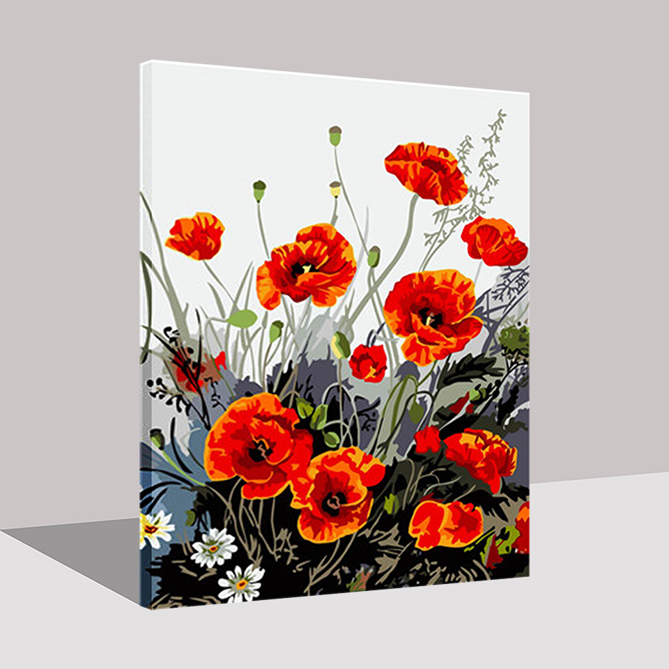 Framework Diy Red Poppy Flower Painting By Numbers Kits Coloring