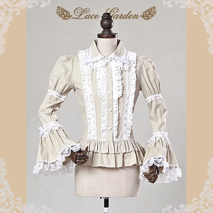 Free Shipping 2019 New Fashion Vintage Royal Cotton Lace Long Flare Sleeve Shirt For Women Spring Autumn Bow Blouse S-XL Beige