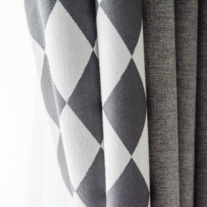 Custom Curtain Nordic Modern Cotton Shading Splice Geometry Gray Plaid Window Livingroom Bedroom Blackout Curtain M650