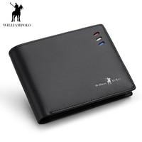 WILLIAMPOLO Slim Wallet Men Genuine Leather Short Purse Elegant Design Luxury Brand New Black Blue Bifold Wallets GIFT PACKING