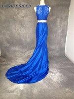 2017 Dentelle Deux Pièces Sirène Robe de Soirée Sans Manches Bleu Royal robes de festa robe longo Cour Train robe de soirée