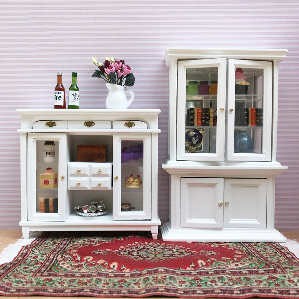 1/12 Dollhouse Miniature Furniture Wooden Display Cabinet Bookcase Decor
