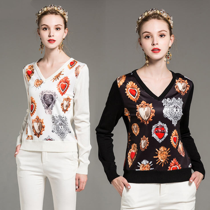 2018 Spring Autumn Women Diamonds Printed Patchwork Knitted Sweaters Pullover Long Sleeve Casual V-neck Sweater Top M-XXL B293