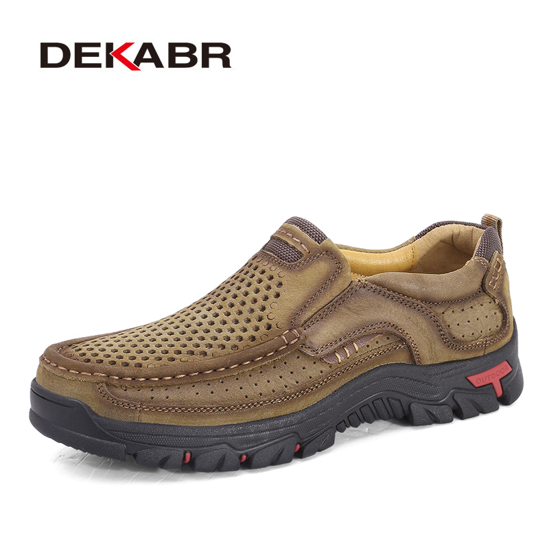 DEKABR Genuine Leather Mens Shoes Brown Men Flats Breathable Casual Italian Loafers Comfortable Cow Leather Driving Shoes Male