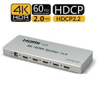 Unnlink HDMI Splitter 1X4 HDMI2.0 UHD 4K@60HZ HDCP 2.2 HDR 1 In 4 Out for Smart LED hdtv box mi box ps4 xbox one s/x projector
