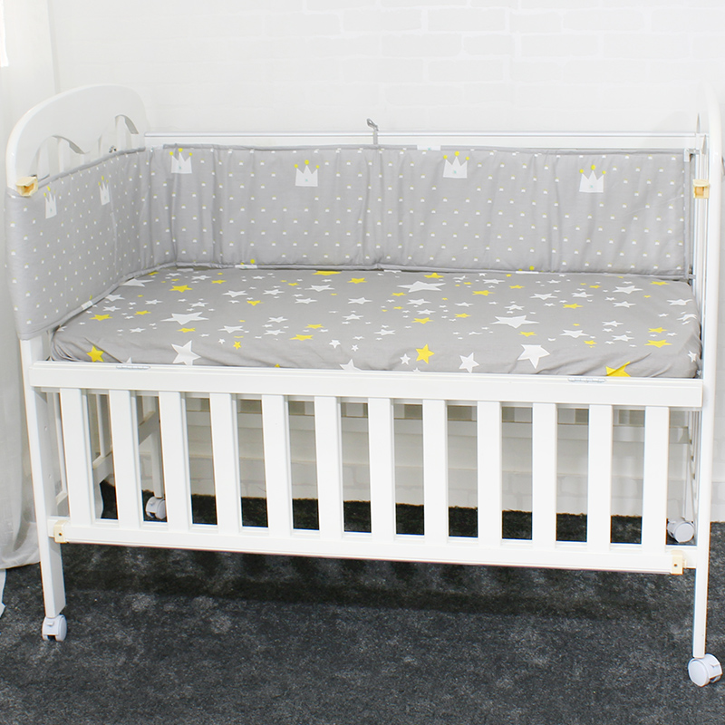 Baby Bumpers In the Crib For Newborn Cotton Linen Cot Bumper Baby Bed Protector Cortch To The Cot 5 Colors 200cm Length