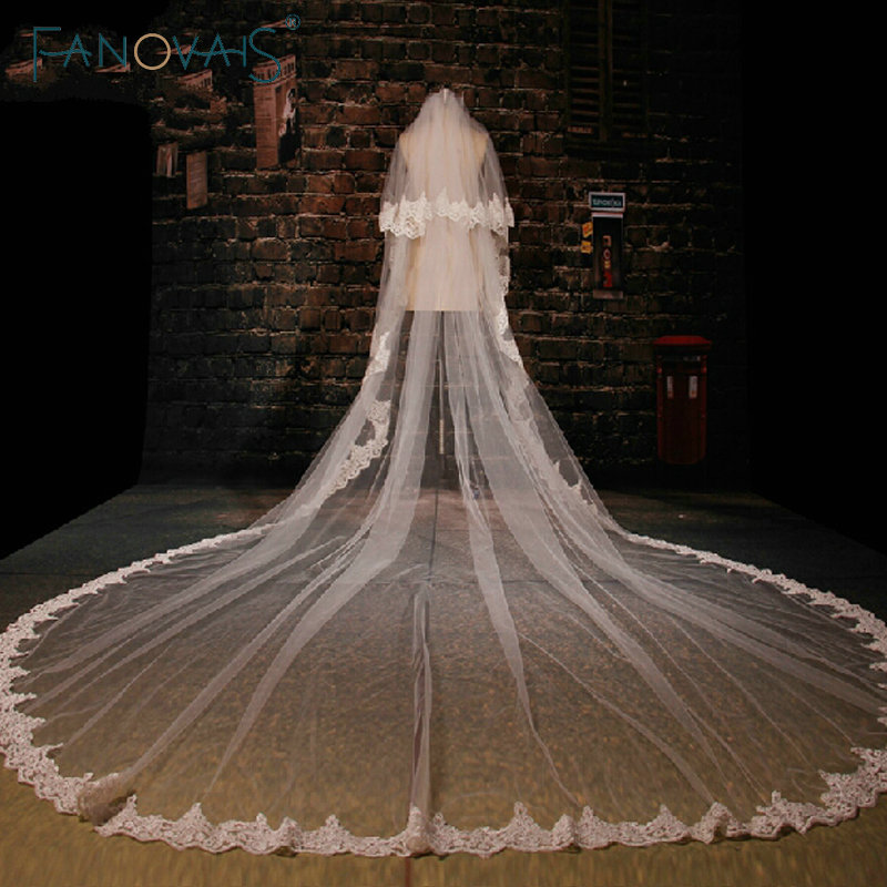 White Stunning Cathedral Train Wedding Veil Lace Applique Tulle Long Bridal Veils Wedding Accessories