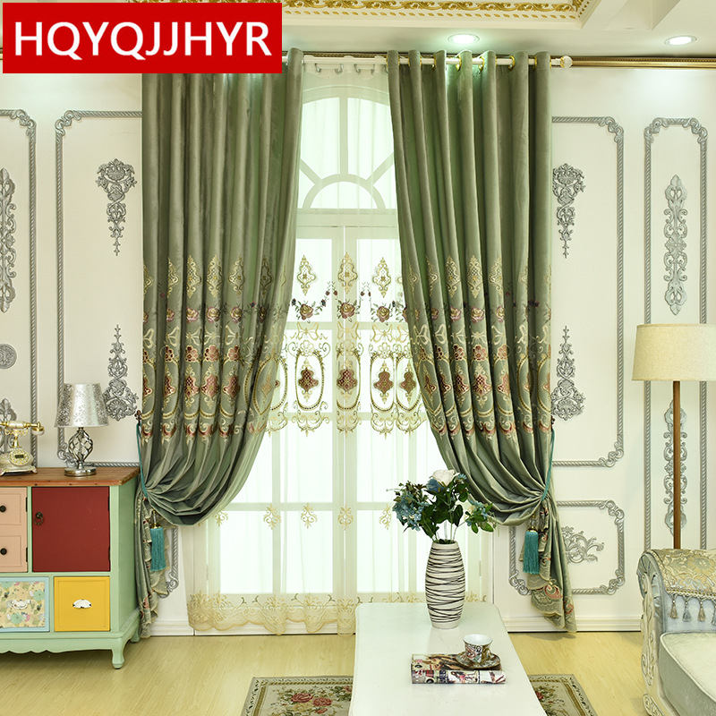 High Quality European Velvet Embroidery Curtains For Living Room Classic Custom Luxury Green Curtains For Bedroom /Study Room