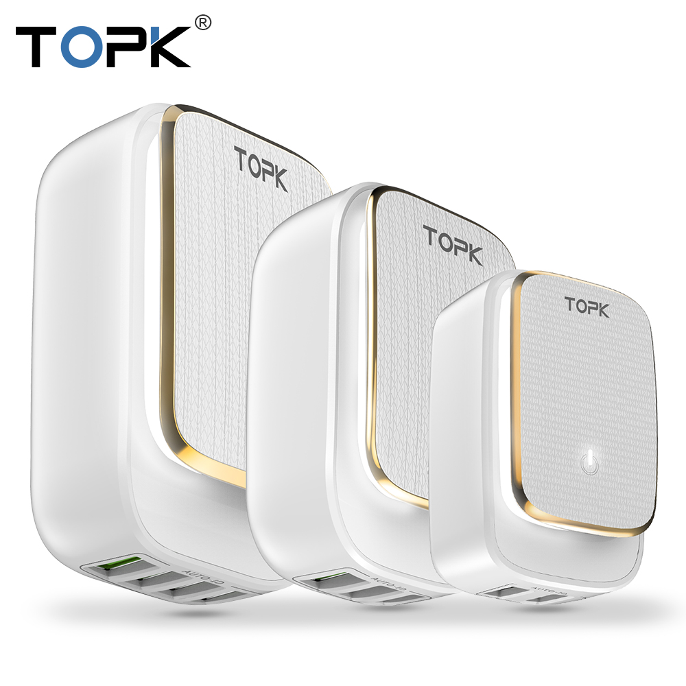 TOPK Adapter Usb-Charger Led-Lamp Us-Plug Multi-Port iPhone Auto-Id 2 for 2-3-4-Usb Tarvel