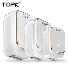 TOPK Светодиодная лампа авто ID мобильный телефон Dual USB Автомобильное зарядное устройство Multi порт штепсельная вилка стандартов ЕС и США штекер USB зарядное устройство для детей 2, 3, 4, USB Tarvel настенное зарядное устройство, адаптер для iPhone