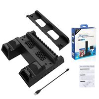 For PS4/PS4 Slim/PS4 Pro Vertical Stand with Cooling Fan Cooler Dual Controller Charger Charging Station for Sony Dualshock 4
