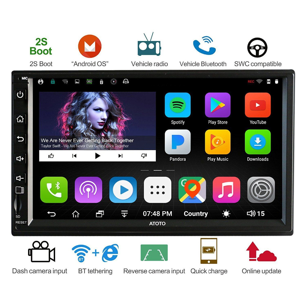 ATOTO A6 Double Din Android Car GPS Stereo Player/ Dual Bluetooth/A62711PB 1G+32G/2A Quick charge/Indash Multimedia Radio/WiFi