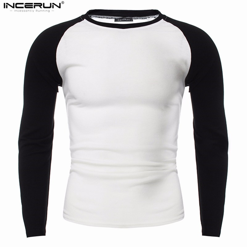INCERUN Mens T-shirts Long Sleeve Patchwork Casual Slim Fit O Neck Black White Tees Classic Fashion 2018 Autumn Male Tops