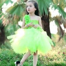 Новый Цветочница Туту Платье Принцесса Дети Ребенок День Рождения Свадьба Тюль Платья Танец Зеленый Пользовательские Пачка Хэллоуин Бальное платье