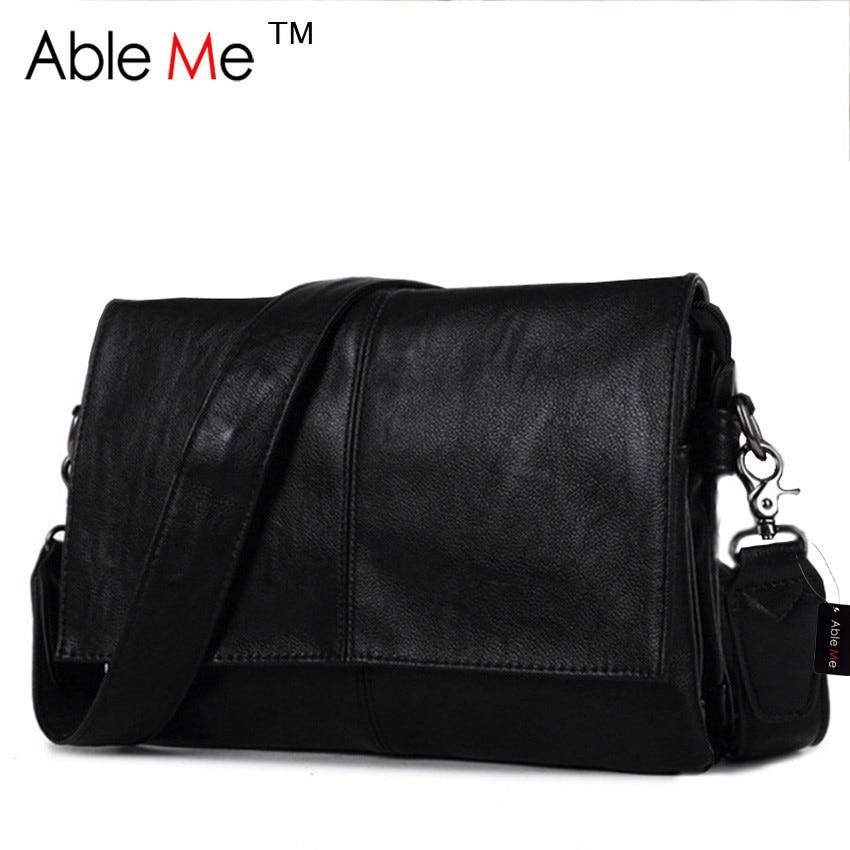 ФОТО AbleMe PU Leather Fashion Black Men Messenger Bag Have Cover Handbag Classic Style Business Gentleman Crossbody Bag Male