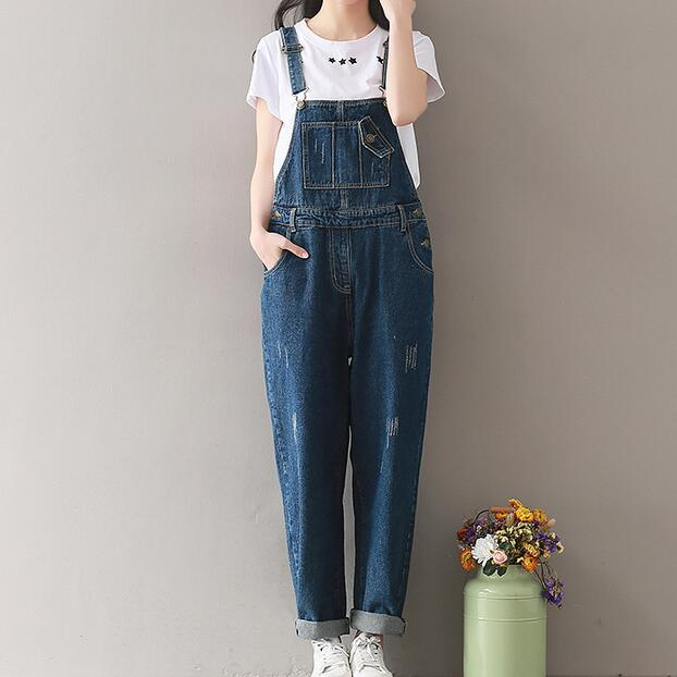 3132bd1b35b 2018 Summer Jeans Women Jumpsuit Denim Romper Overalls Long Trousers  Vaqueros Basic Denim Pants Wide Leg Rompers AH714