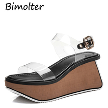 Bimolter Women Thick Platform Flip-flops Sandals Women Novelty PVC transparent Summer Shoes High Heels Ladies Buckle Shoes FC071 asumer black apricot rose red fashion summer ladies shoes buckle thick platform prom shoes women high heels sandals