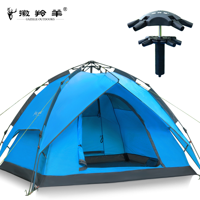 Emblem antelope outdoor tent 3-4 person Double layer hydraulic automatic Waterproof Speed open camping tent