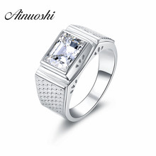 AINOUSHI Luxury Men Ring 3 Ct Lab-Created SONA Ring for Men 925 Sterling Silver Ring Jewelry