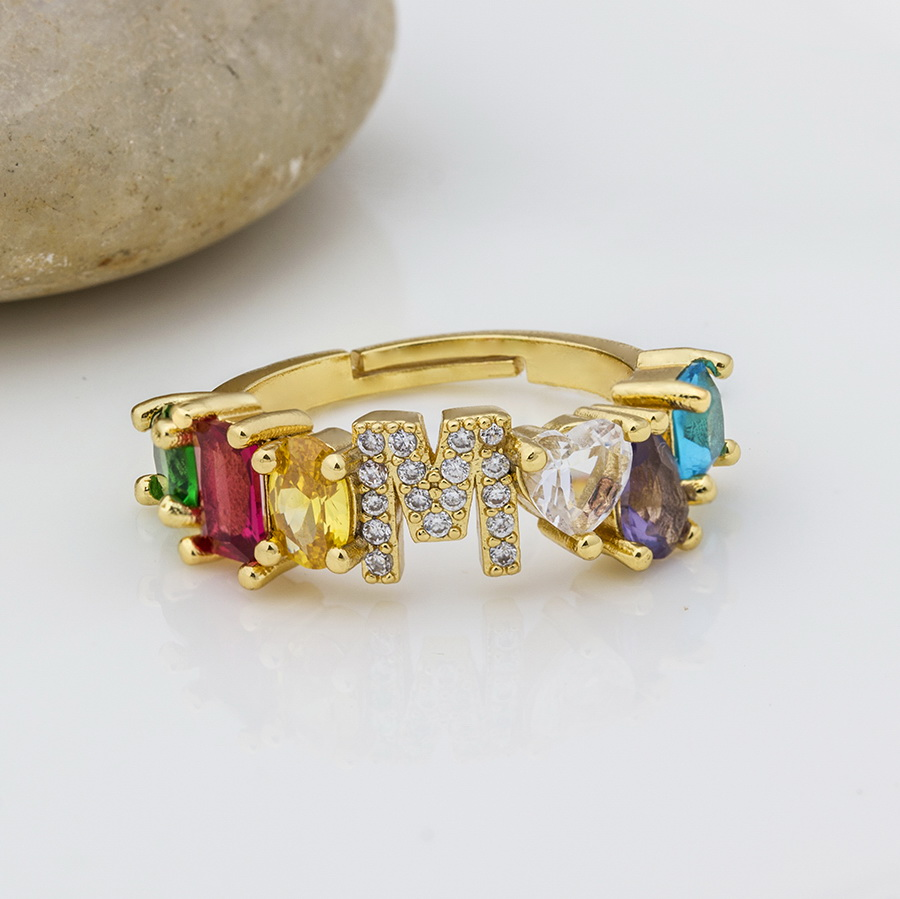Hot Sale Adjustable A Z Initial Ring Bohemian Copper Zircon  Rainbow Letter Rings for Women Girls Party Wedding Jewelry Gift