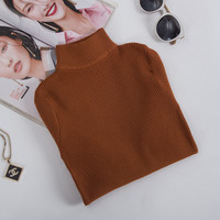 RUGOD Women Sweater Pullover Basic Knitted Cotton Tops Women Turtleneck Elastic Jumper 2018 Autumn Winter Long
