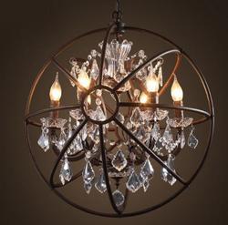 Loft American Vintage Rurale Orb Globo di cristallo anello lampadario Rustico creativo negozio di abbigliamento ristorante ferro lampada a sospensione