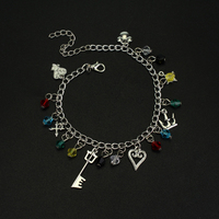 New Kingdom Hearts Charm Gems Metal Alloy Bracelets Crystal Beads Crown Bracelet for Women Vintage Game Jewelry Accessories-A30