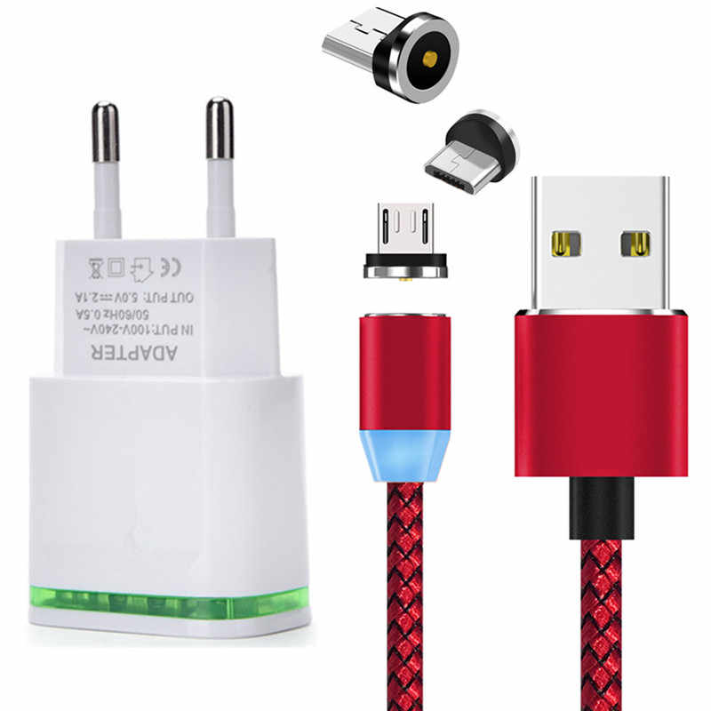 Magnetic Cable & LED Wall plug Charger Micro usb Wire For