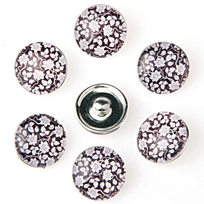 Wholesale Cartoon Snap Jewelry 18mm Snap Buttons DIY Glass Buttons For Women TZ4024