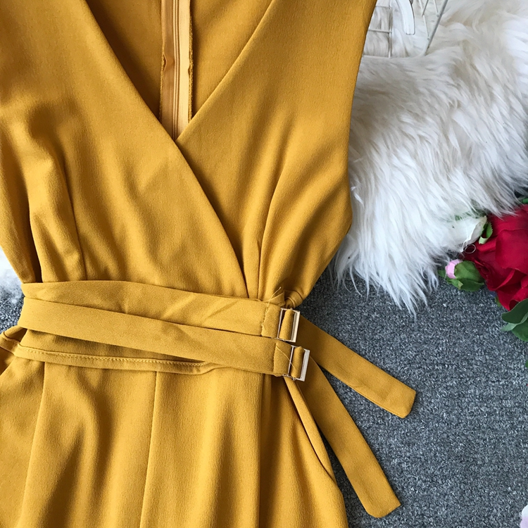 ALPHALMODA 2019 Spring Ladies Sleeveless Solid Jumpsuits V-neck High Waist Sashes Women Casual Wide Leg Rompers 60