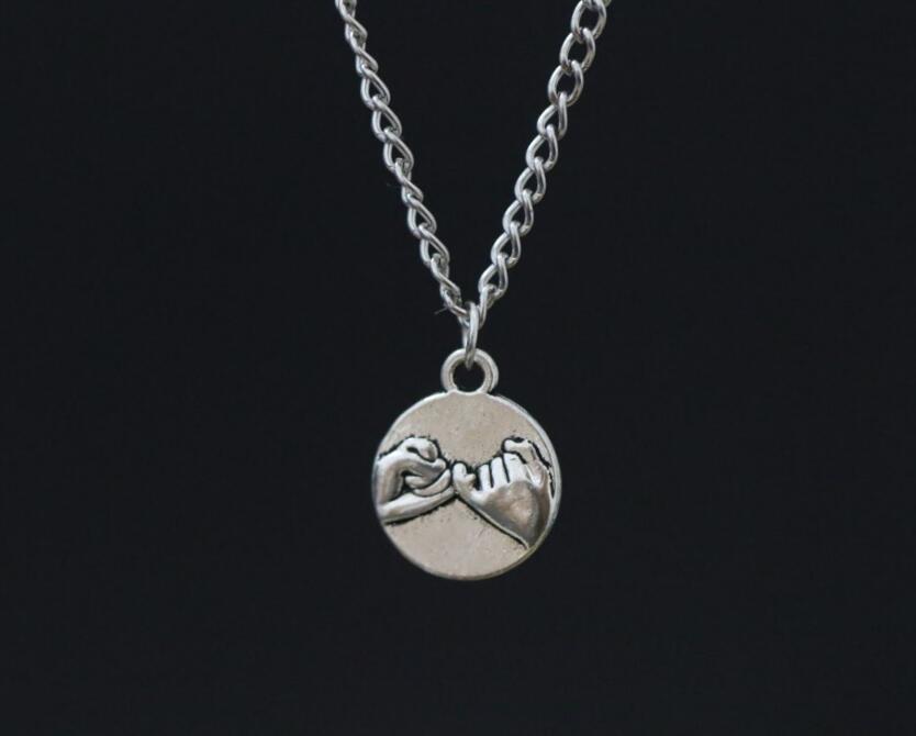 Infinity pinky promise pendant necklaces best friends necklaces alloy vintage ancient silver pinky promise charm pendant bbf best friends charm pendant necklace aloadofball Choice Image