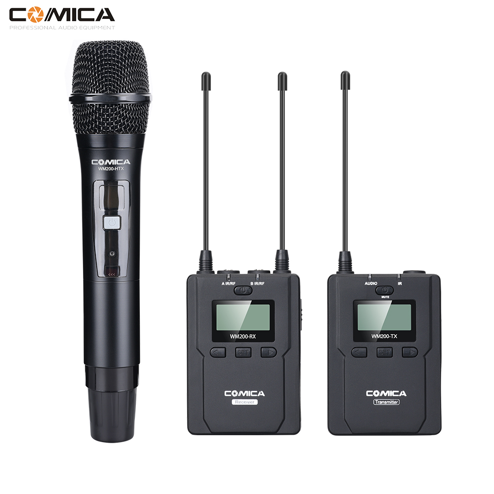 COMICA CVM WM200B Metal UHF Wireless Mono/Stereo Lavalier Interview LCD IR Handheld Microphone for Canon Nikon Camcorder Video