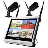 2CH 1080P 2MP Security IP Camera Wifi Wireless NVR LCD Monitor CCTV Home Video Surveillance Recorder