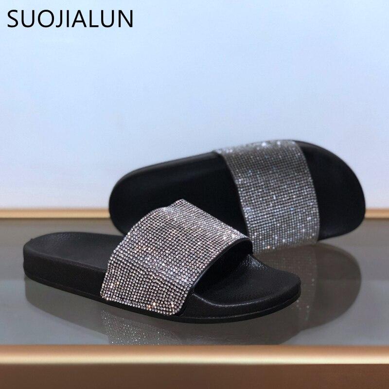 SUOJIALUN Woman Shoes Crystal Summer Beach Women Flip Flops Slides Sandals Women Slippers Shoes Gold Flat Slippers in Slippers from Shoes