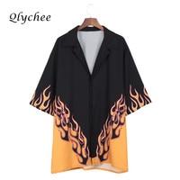 Qlychee Fashion Half Sleeve Flame Print Blouse Tops Women Turn Down Collar Retro Long Shirt Female