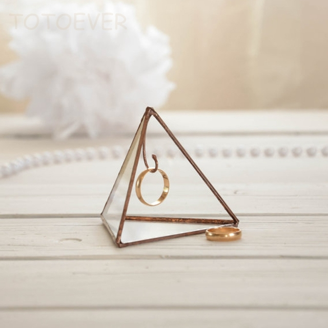 2d7a8281e76be US $19.95  Ring Holder Pyram Engagement Ring Box Jewelry Gift Wedding Ring  Holders Jewelery dish Geometric box Love Be special Sand Wedding-in Party  ...