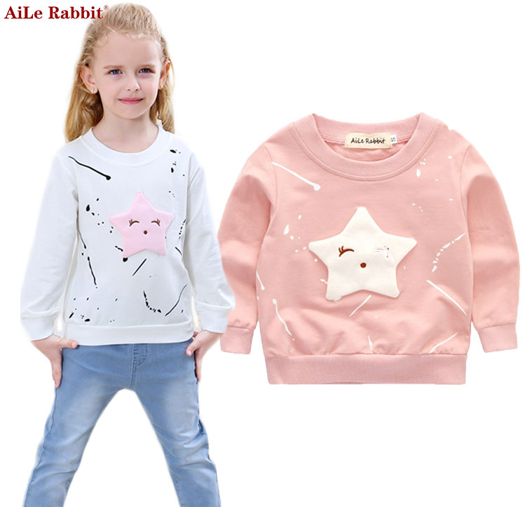 Aile Rabbit  New Baby Girls Clothing Banner Star Girls  Long Sleeve T Shirt Children's Clothing  Casual Tops Tee Shirt K1