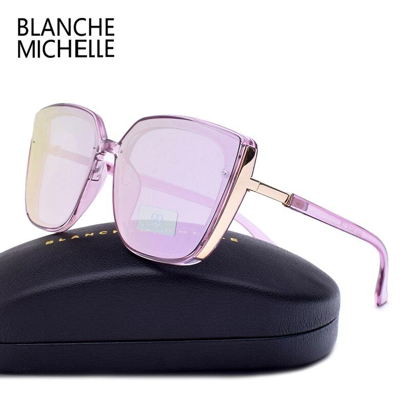 Image 3 - Blanche Michelle 2019 High Quality Cat Eye Polarized Sunglasses Women UV400 oculos Oversized Mirror Sun Glasses Brand With BoxWomens Sunglasses   -