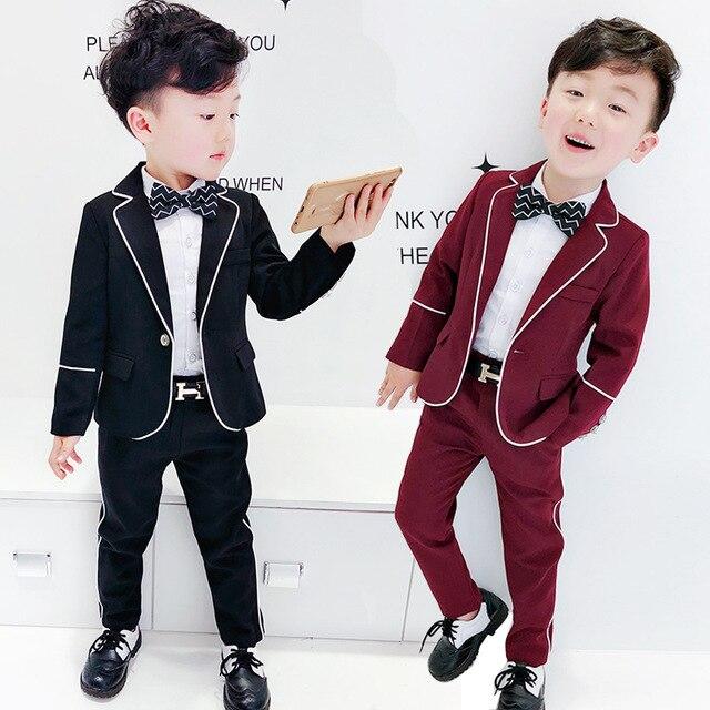 1c3261d5e130a 2018 Nouveau enfant Blazers costume Pantalon veste 2 pièces De Mariage  Fleur Garçon Robe Bonne Qualité