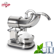 ITOP Stainless Steel Ice Crusher Snow Cone Machine,Commercial Ice Shaver Maker Ice Sommties Cream Maker Machine 110V 220V 240V недорого