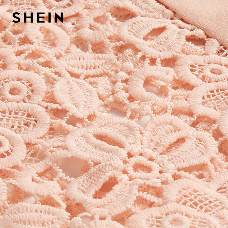 5bbe08b882 SHEIN Floral Lace Cap Sleeve Pleated Top Pink Scoop Neck Short Sleeve Women  Plain Blouse 2018 Summer Weekend Casual Blouse-in Blouses & Shirts from  Women's ...