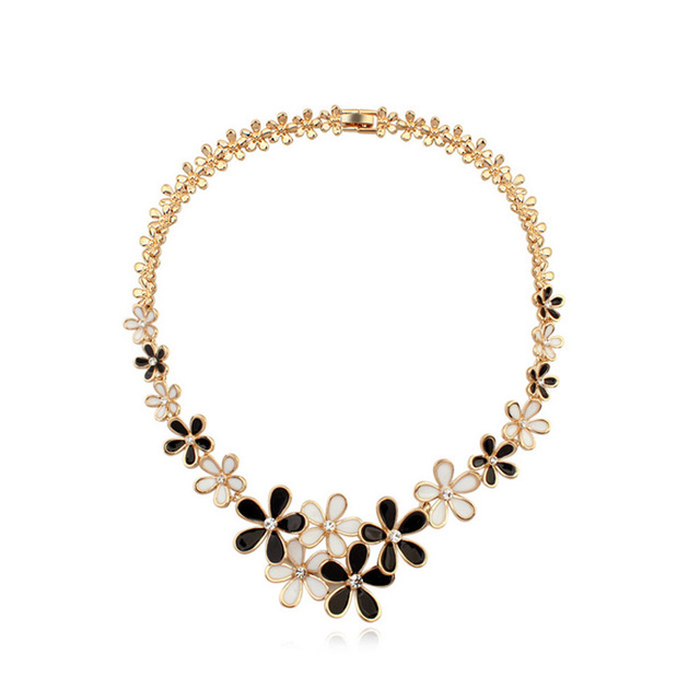 Btime Hot Crystals from Qianzi Necklace crystal torques women popcorn chain gold plated trendy Crystals From Swarovski