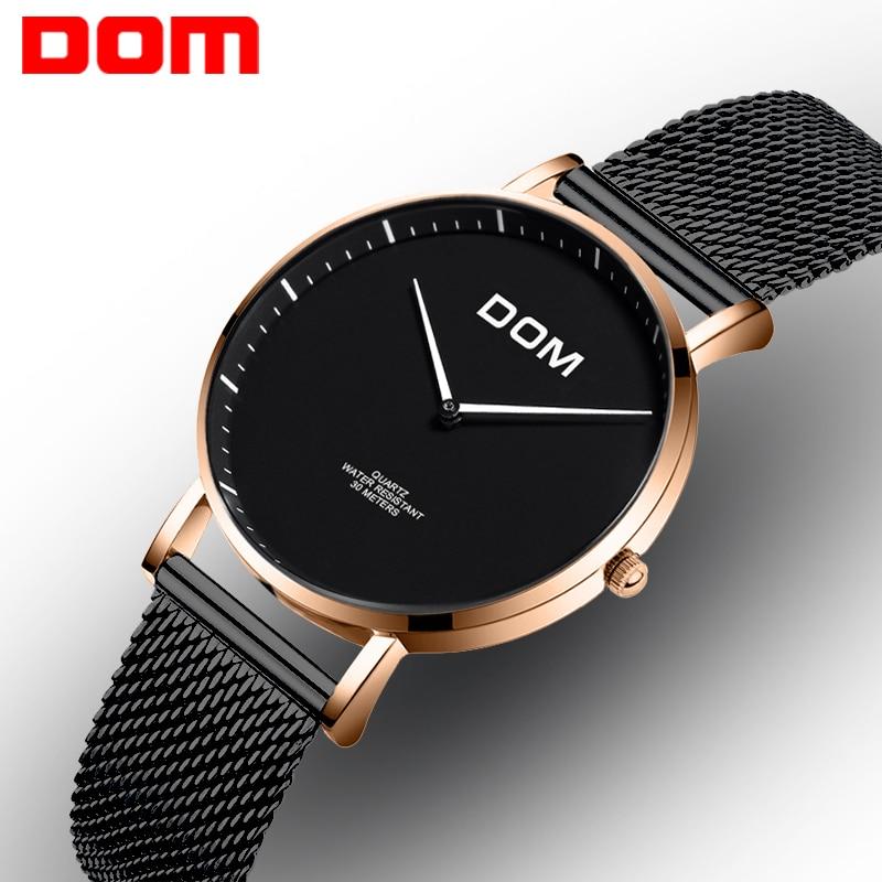 DOM Kvinnor Klockor Lyx Märke Fashion Quartz Lady Rostfritt Stål Armband Armbandsur Casual Mesh Montre Kvinna Mujer G-36G