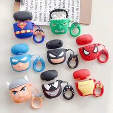 Cute Cartoon Superheros Bluetooth Earphone Case Protective Cover Skin Accessories for Airpods Cases Charging Box with Hooks(China)