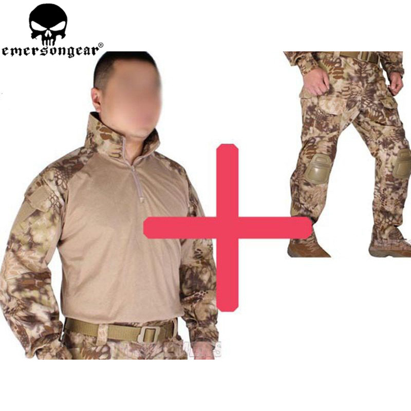 Emersongear BDU G3 Uniform Shirt&Pants with Knee Pads BDU Airsoft War-game Uniform HLD Ghillie Suits EM8594 EM7047 us army digital desert camo bdu uniform set war game tactical combat shirt pants ghillie suits